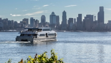 Image: Water taxi traveling from West Seattle to Downtown Seattle.