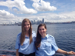 Julia and Hannah are the Water Taxi summer interns helping make sure riders have the information they need for smooth sailing.