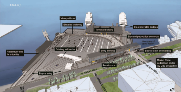 Rendering 2016 overview of WSF and Water Taxi at Colman Dock