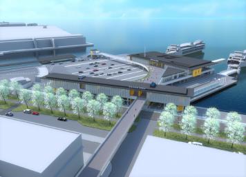 Rendering 2016 of WSF Colman Dock project looking west