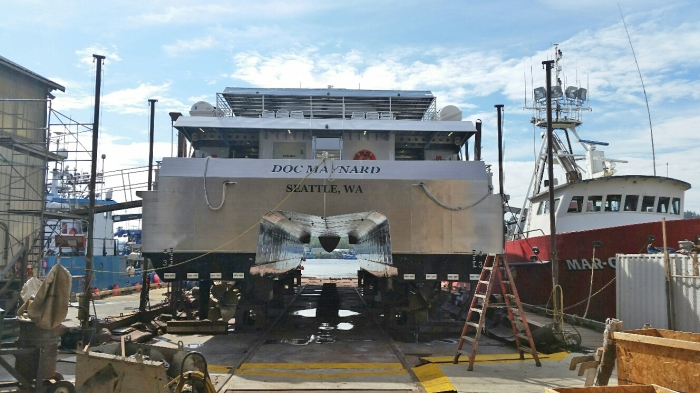 Water Taxi MV Doc Maynard in drydock for its warranty inspection Sept. 16, 2016.