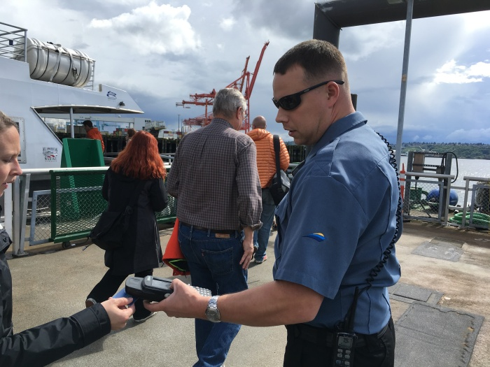 King County Water Taxi crews are sporting new uniforms with the service's new branding, designed completely in-house.