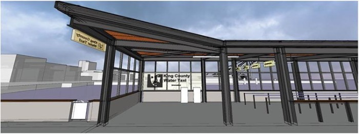 This is a rendering of the entrance area of the future passenger-only terminal that will serve riders of King County Water Taxi and Kitsap Fast Ferry service.