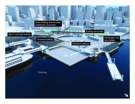 This is a onceptual design of the future Seattle Multimodal Terminal at Colman Dock Project, which includes a new passenger-only terminal for riders of King County Water Taxi and Kitsap Fast Ferry service. Photo courtesy of Washington State Ferries.