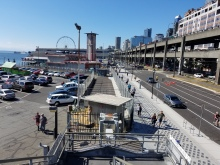 Recently installed fencing at Colman Dock indicates the temporary location of the King County Water Taxi. It's located more than 500 feet north of the existing terminal.