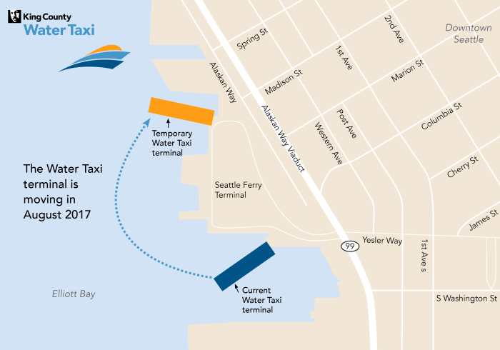 Pictured is a map that illustrates the current location of the Water Taxi terminal, as well as its temporary location on the north end of Colman Dock.