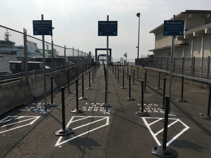 King County Water Taxi's temporary location offers marked queuing areas for riders bound for West Seattle, Vashon Island and Bremerton.