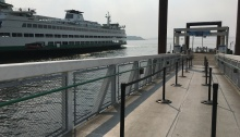 Here is the view from our gangway with Washington State Ferries' Bainbridge Island-bound vessel to the south.