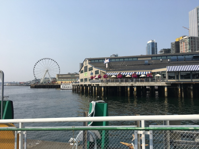 King County Water Taxi's tempoary location offers a close-up view of the Seattle waterfront.