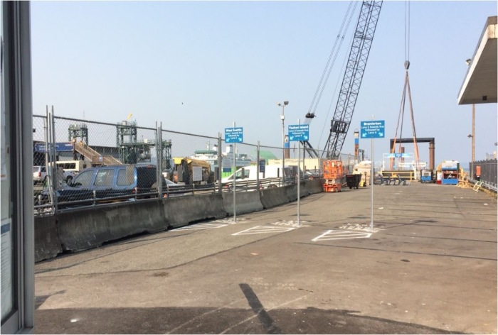 Here is a view of the King County Water Taxi's temporary location at Pier 52, on the north end of Colman Dock. Photo courtesy of Washington State Department of Transportation.