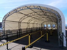 This new tent covers King County Water Taxi riders before they approach the gangway that leads to the vessels at Pier 52.