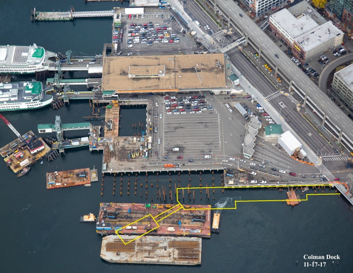 An aerial view of Colman Dock taken on Nov. 17, 2017 illustrates construction at the King County Water Taxi's future terminal.