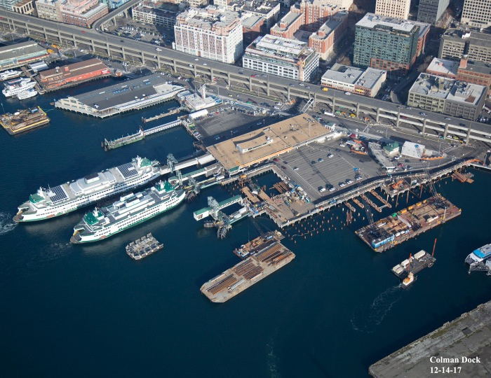 An aerial image of Colman Dock taken on Dec. 14, 2017.