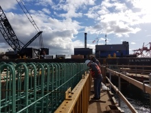 Construction crews inspect rebar at the future home of the King County Water Taxi.