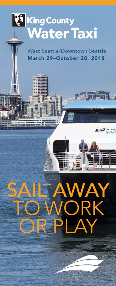 The cover of the King County Water Taxi West Seattle/Downtown Seattle sailing schedule from March 29 to Oct. 28.