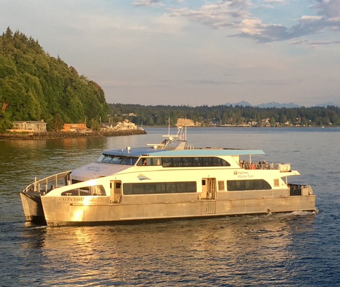 The MV Sally Fox pulls out of the Vashon Island dock after picking up riders for a morning run.