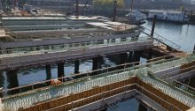 An aerial view of a work at the site of the future Passenger Only Ferry facility to Colman Dock.
