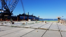A picture of the deck of the future Passenger Only Ferry (POF) facility for the King County Water Taxi after the final deck was put into place late September.