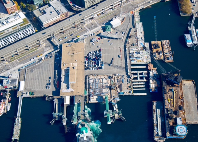 An aerial image captured of King County Water Taxi's future Passenger Only Ferry facility and Colman Dock taken Oct. 17, 2018