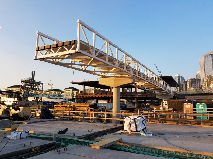 Pictured is the elevated pedestrian bridge that will connect the future Passenger Only Ferry facility with WSDOT's Colman Dock terminal building.