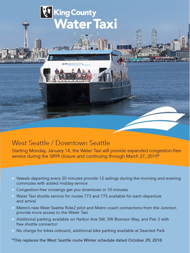 This is the front cover of the printer-friendly version of the King County Water Taxi's Expanded Schedule, Jan. 14, 2019 to March, 27, 2019.