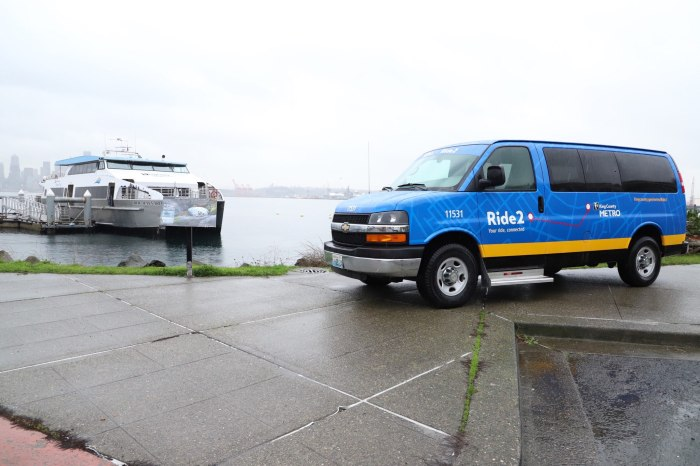 A Ride2 shuttle van overlooks the MV Doc Maynard as it's docked at Seacrest Park in West Seattle.