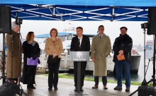King County Executive Dow Constantine, Seattle Mayor Jenny Durkan, King County Council Chair Joe McDermott and others speak to media at Seacrest Park about preparing for the upcoming SR 99 closure.