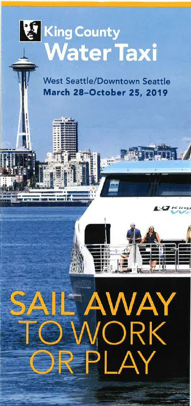 Brochure cover stating that the water taxi summer dates are March 28 - October 25