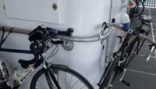 Bicycles secured to handrails present safety hazards to customers on water taxi sailings