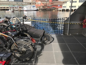 A long bicycle blocks the access ramp on the water taxi